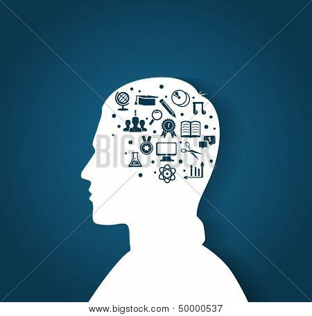 Man's Head With Education Icons