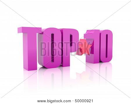 Top ten violet word isolated on white background.