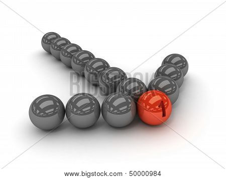 Grey arrow of the balls with the red leader in front.