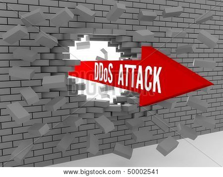 Arrow with words DDos Attack breaking brick wall.