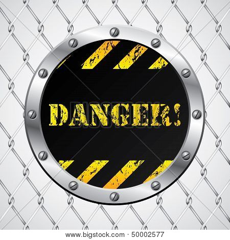Wired Fence With Danger Sign