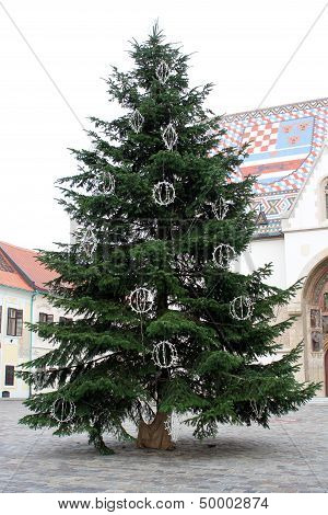 Christmas Tree In Fron Of St. Mark's Chruch In Zagreb