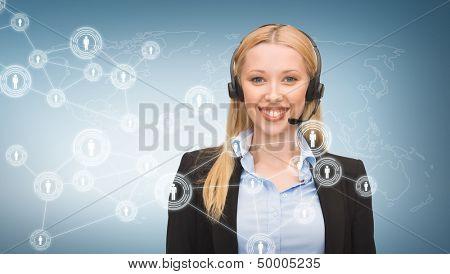 Centro de negocios, comunicación, tecnología y llamada - operador helpline hembra con auriculares y v