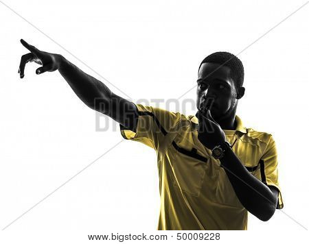 one african man referee whistling pointing in silhouette  on white background