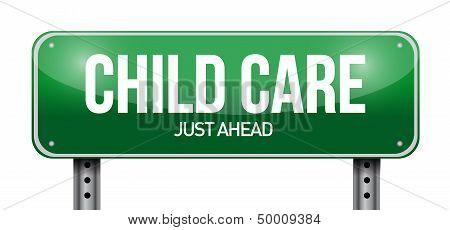 Child Care Road Sign Illustration Design