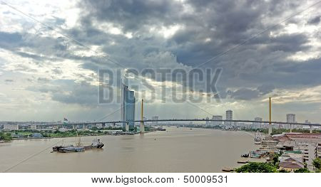 Skyline bridge on Chaopraya River Bangkok Thailand