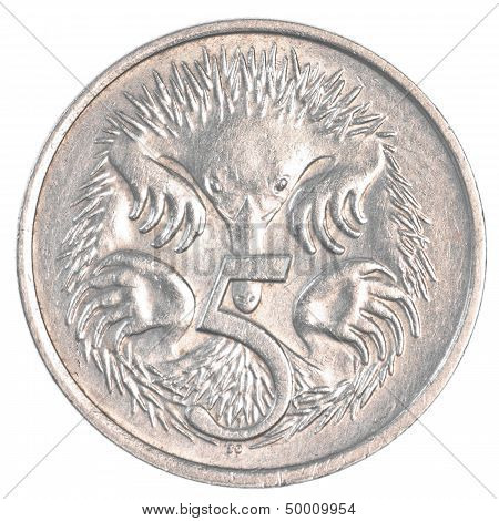 five australian cents coin