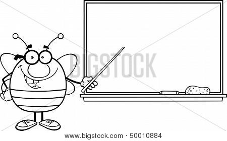 Black And White Pudgy Bee With Glasses With A Pointer In Front Of Blackboard