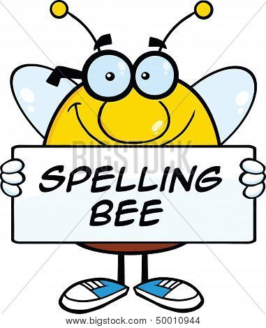 Smiling Pudgy Bee Cartoon Character Holding A Banner With Text