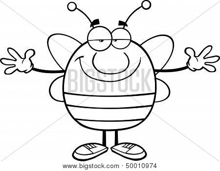 Black And White Pudgy Bee Cartoon Character With Open Arms For Hugging