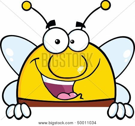 Pudgy Bee Character Over Blank Sign