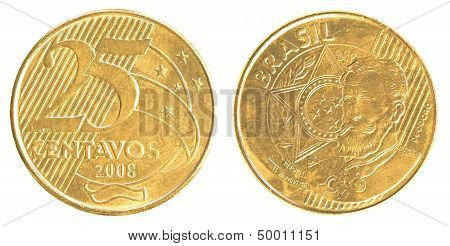 25 Brazilian Real Centavos Coin