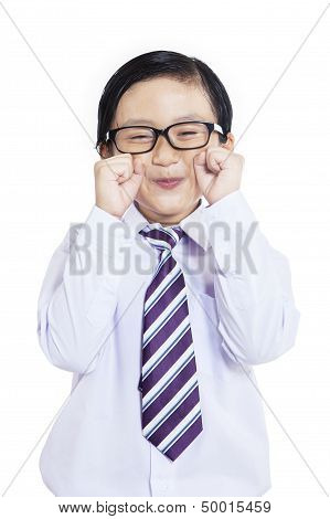 Cute Little Businessman Crying - Isolated