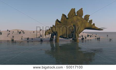 stegosaurus on shore
