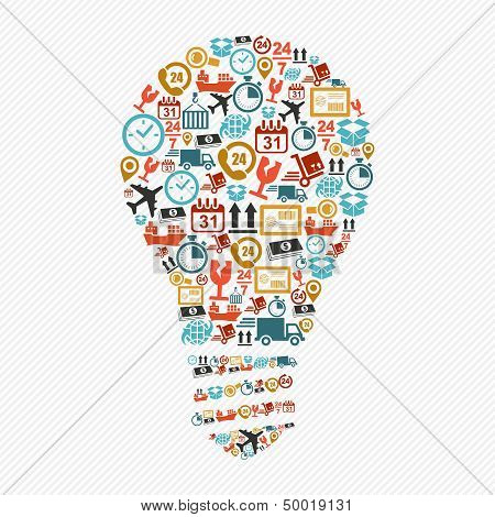 Idea Light Bulb, Colorful Shipping Web Icons Composition.