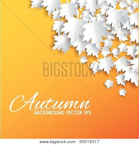 Autumn background with paper cut maple