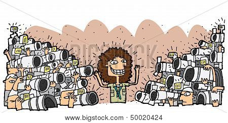 Famous Character Surrounded By Crowd Of Paparazzi