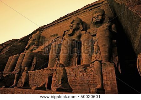 Colossi of Ramses II Great Temple of Ramses II Abu Simbel UNESCO World Heritage Site Egypt