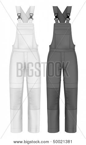Photo-realistic vector illustration. Men's overalls design template (front view). Illustration contains gradient mesh.