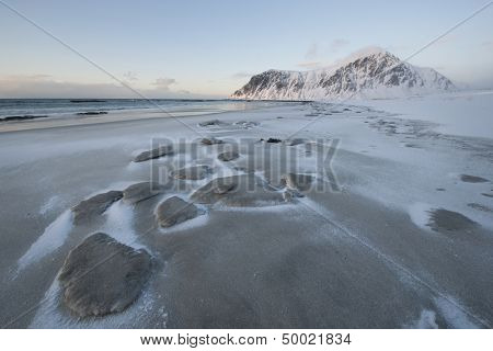 Salt residue on beach on Flakstadoya island Loftofen Norway