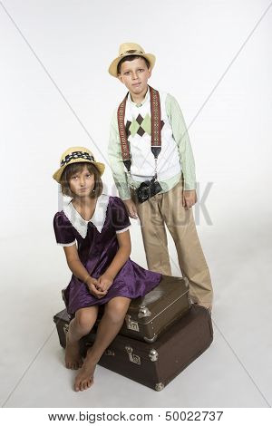 Retro traveling couple