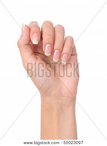 Beautiful Woman Hand With French Manicured Nails