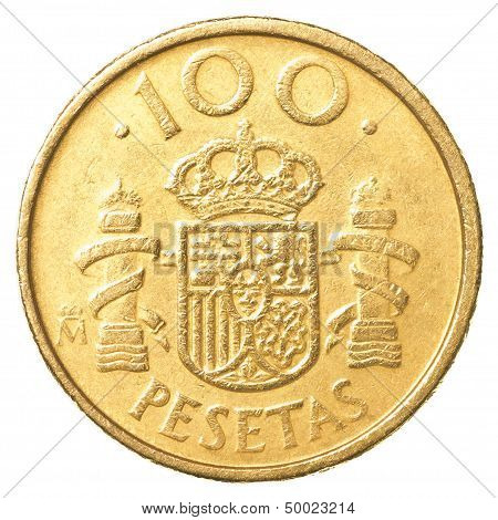 100 spanish pesetas coin