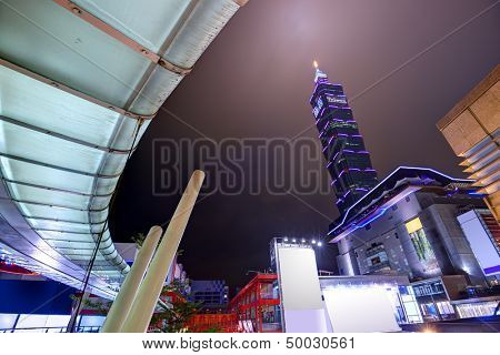 TAIPEI, TAIWAN - JANUARY 18: Cityscape of Taipei 101 viewed from the Xinyi District January 18, 2013 in Taipei, Taiwan. The district is the commercial and financial heart of the city.