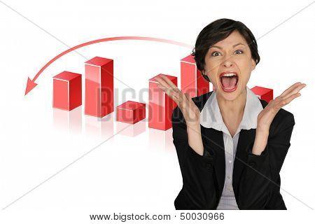 Horrified businesswoman