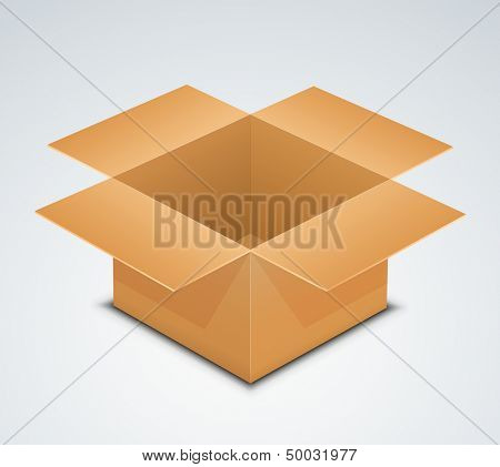 Open box. Vector illustration of cardboard box. Recycle brown paper box packaging