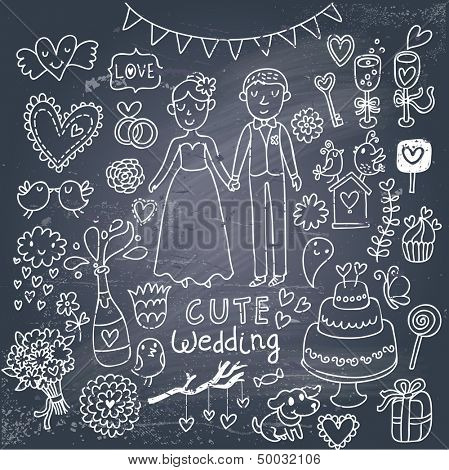 Vintage wedding set in cartoon style on chalkboard background. Couple of lovers, birds, dog, vine, rings, bouquet, hearts, flowers, cupcake, candy and other romantics symbols in vector