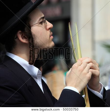 BNEI-BRAK, ISRAEL - SEPTEMBER 22: A young Orthodox Jew with side curls and black hat chooses ritual items Lula before the holiday of Sukkot September 22, 2010 in Bnei Brak, Israel