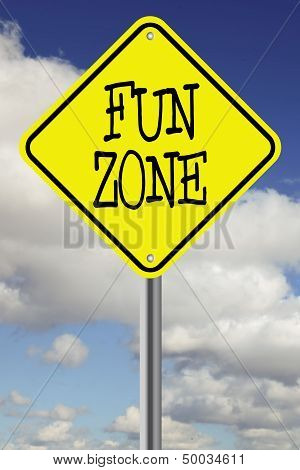 Yellow fund zone road sign