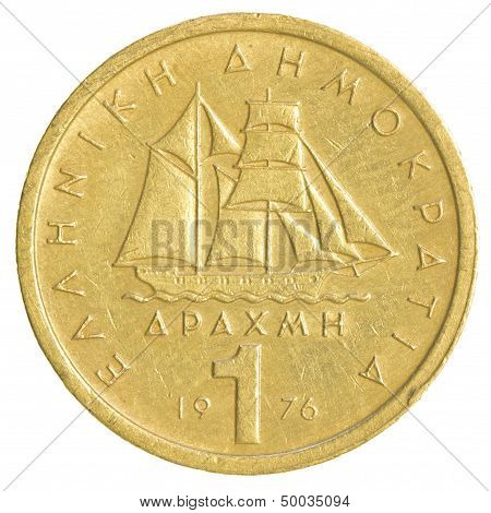 One Old Greek Drachma Coin