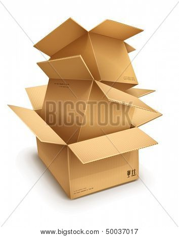 Empty open cardboard boxes isolated on transparent white background - eps10 vector illustration