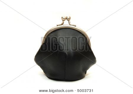 One Old Purse On A White Background