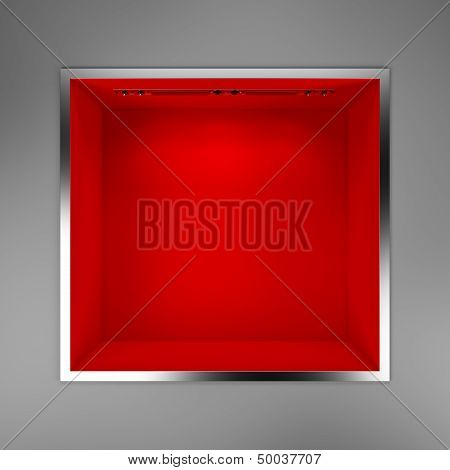 empty red showcase