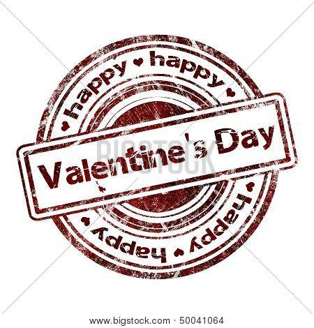 Happy Valentine's Day Grunge Rubber Stamp