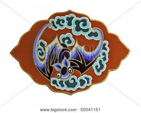 Symbol Of  Chinese Bat On White Background
