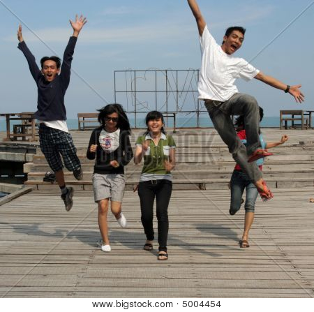 Group Outdoor Cheerful On Pier
