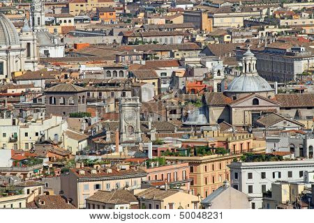 Domes, Bell Towers, Churches, Palaces, Roofs, Air View Of Rome
