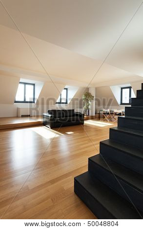 Interior, beautiful loft, hardwood floor, view living room