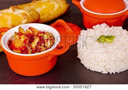 Bean and Pepper Casserole, Basmati Rice, Side of Garlic Bread