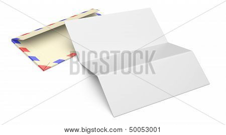 3D Illustration Of Open Blank Airmail Envelope