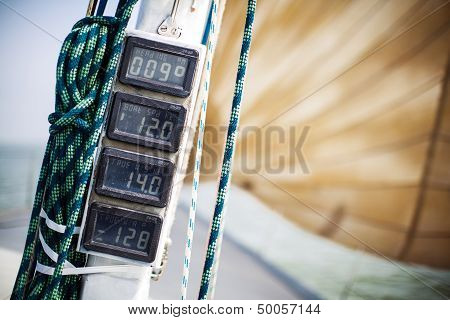 Dashboard instruments on a yacht.