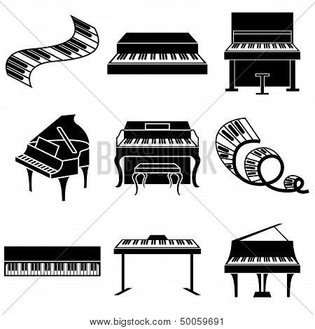 Piano And Keys Icons Set