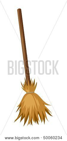 Old broom. Vector illustration.