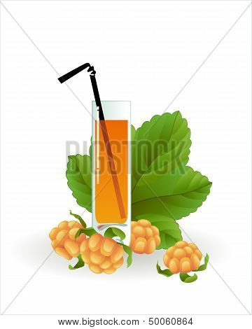 Glass of cloudberry juice