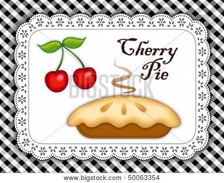 Cherry Pie, Lace Doily Place Mat, Black Check Background