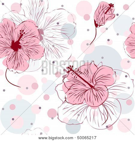 Seamless Pattern with Hand Drawn Hibiscus Flowers